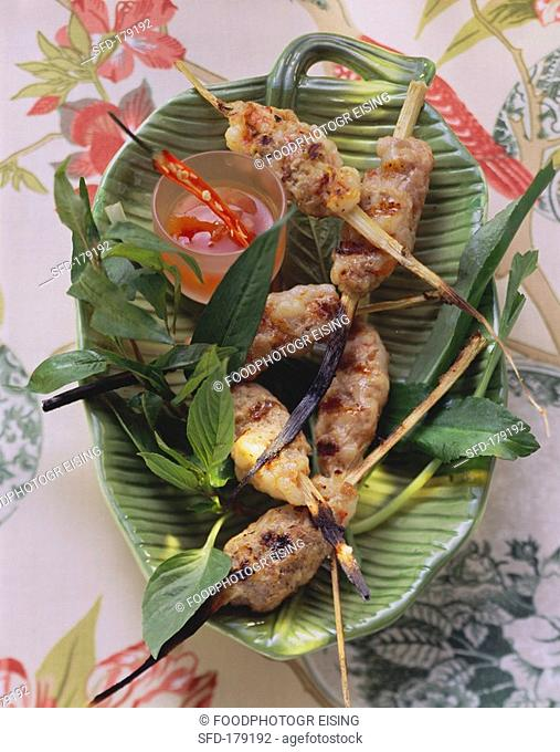 Grilled Asian style shrimp and minced pork kebabs 1