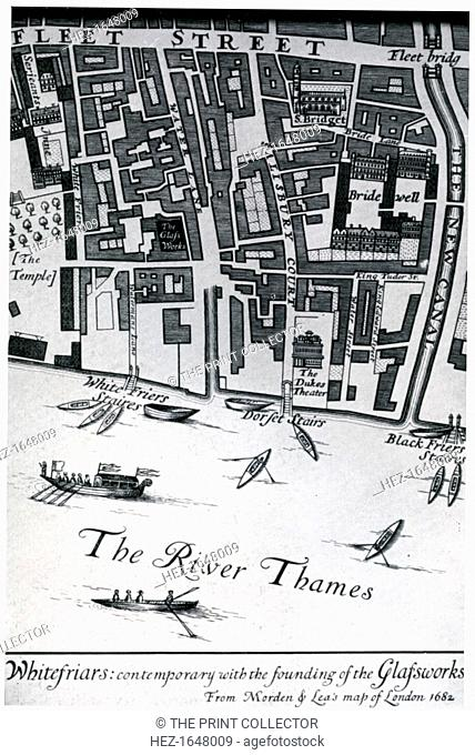 Map of London featuring Whitefriars, 1682 (1930). From Apollo magazine, volume XII, no 71 (November 1930)