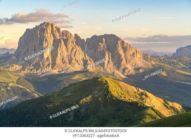 Langkofel and Plattkofel shot from Seceda. Ortisei, Bolzano province, Trentino Alto Adige, Italy
