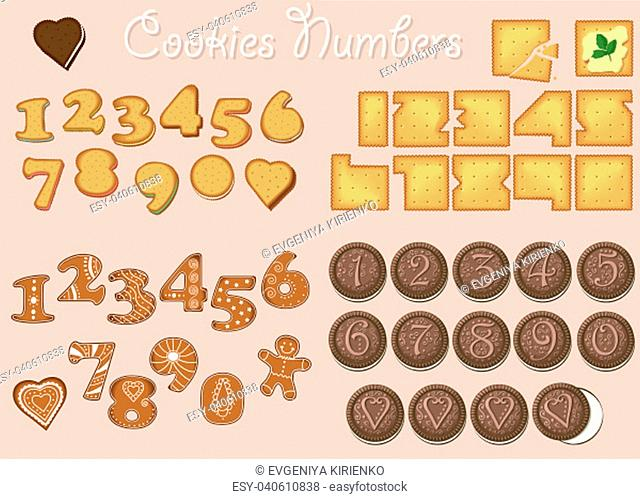 Set of Numbers. Symbols are as sweet cookies, crackers, biscuits and gingerbreads. Illustration