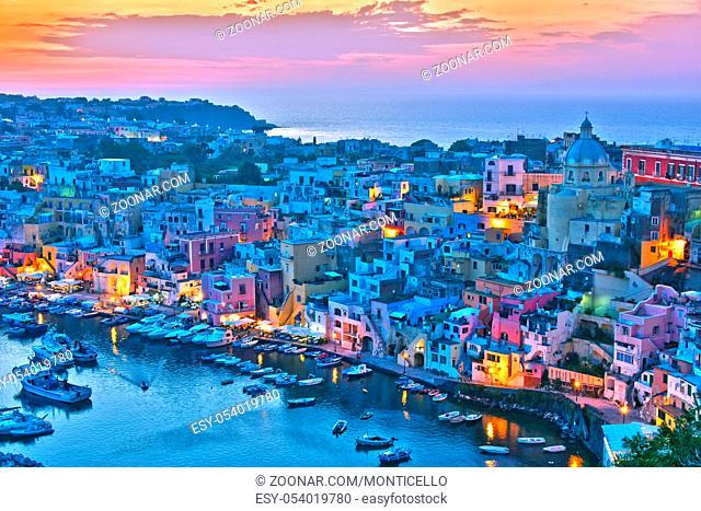 Architecture of Procida Island, a comune of the Metropolitan City of Naples, Campania, Italy