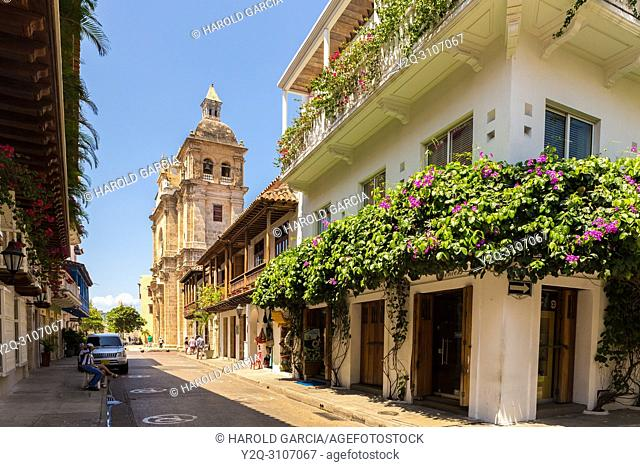 Colonial House close to cloister and church of San Pedro Claver in the ancient walled city of Cartagena de Indias. Cartagena, Colombia