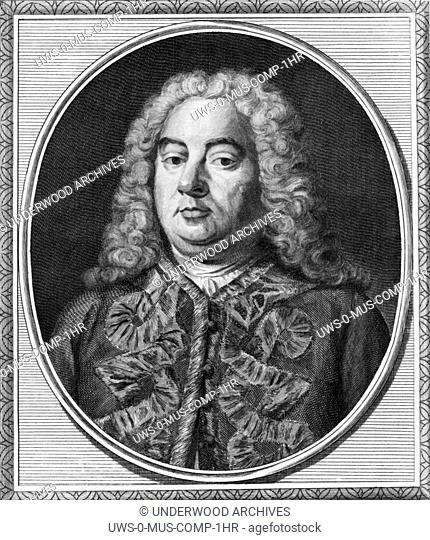 London, England c. 1750 An engraving portrait of German Baroque composer George Frederic Handel