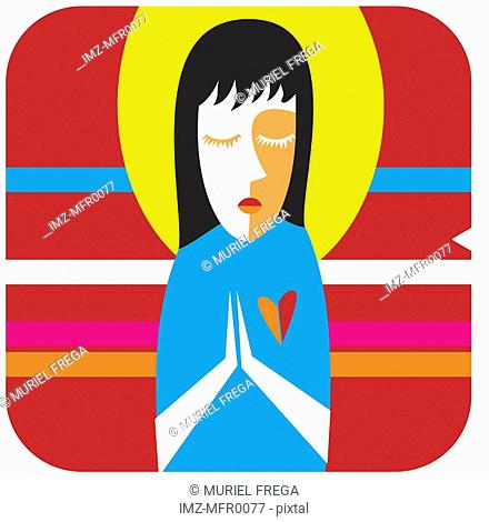 Virgo icon with a red background