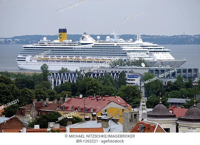 Cruise ship in the port of Tallinn, Estonia, Europe