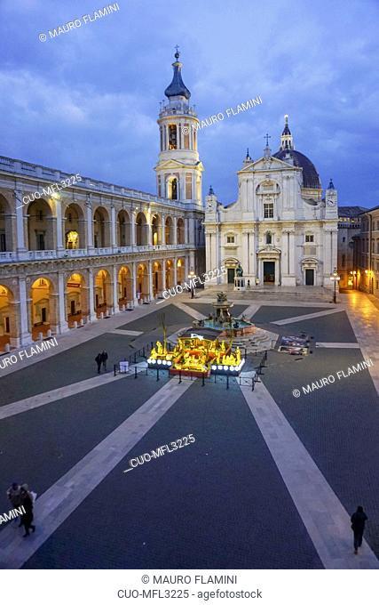 Crib, Christmas, Tree, Piazza della Madonna square, Fountain, Sanctuary of Madonna di Loreto, Loreto, Marche, Italy, Europe
