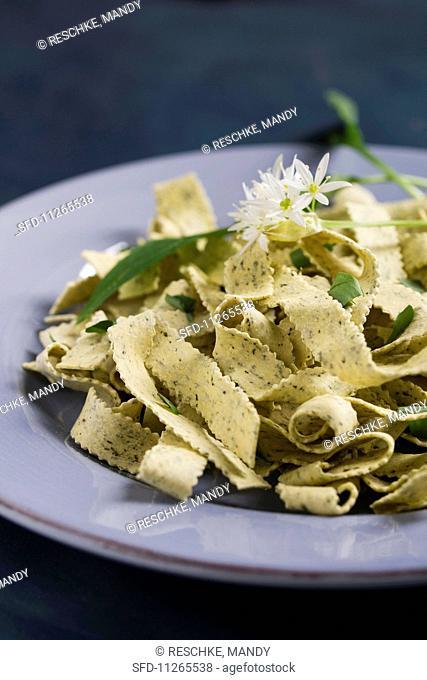 Wild garlic tagliatelle garnished with wild garlic