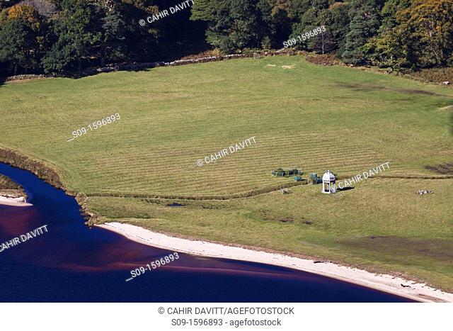 Ireland, Co  Wicklow, Luggala, Lough Tay, view of the beach and gazebo of the Luggala Estate