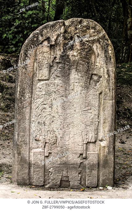 Stela 16 stone carving, circa 711 A. D. , shows ruler Hasaw Kan Kâ. . awil wearing elaborate ritual dress for the celebration of an important ceremony