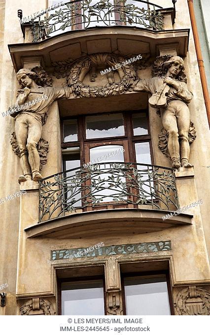 Close up of an Art Nouveau Balcony. Prague, Czech Republic, Europe