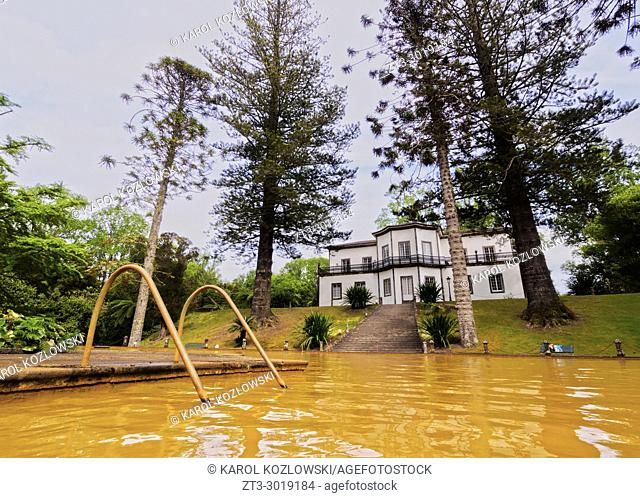 Thermal Water Pool and Mansion House in Terra Nostra Park, Furnas, Sao Miguel Island, Azores, Portugal
