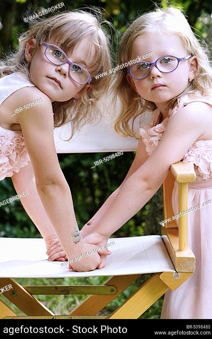 6 years old, 3 years old, two girls, siblings, portrait, Czech Republic, Europe