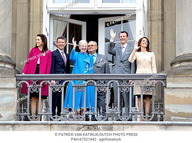 Queen Margrethe (3rd L), Prince Henrik (3rd R), Crown Prince Frederik (2nd L), Crown Princess Mary (L), Prince Joachim and Princess Marie of Denmark during the...