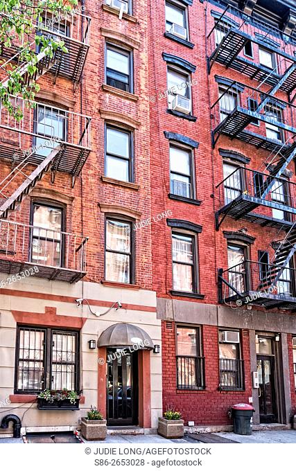 Two Tenement Apartment Buildings in East Greenwich Village, Manhattan, NYC, Formerly known as Alphabet City