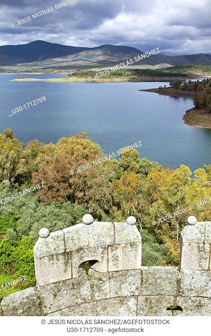 Gabriel y Galán Reservoir view from the castle of the deserted and fortified village of Granadilla, declarated Historical-Artistic Site  Cáceres  Extremadura...
