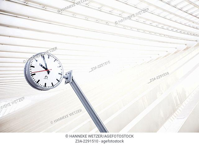 Clock of Liège-Guillemins central station, designed by architect Santiago Calatrava, Belgium