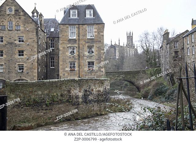 Dean Village along the river Leith in Edinburgh,, Scotland. UK