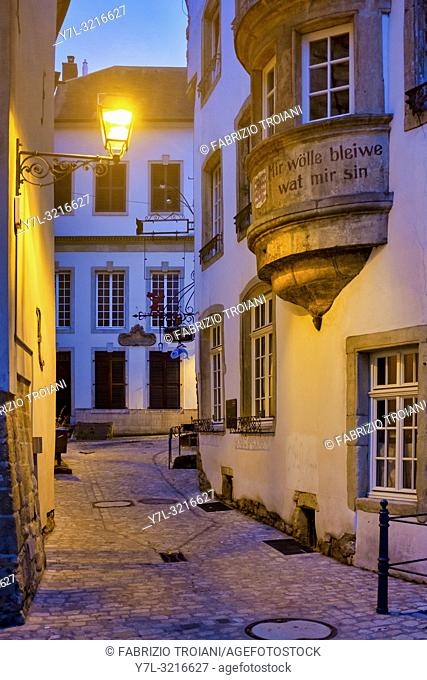 Rue de l'Eau, in the old city of Luxembourg City, Luxembourg