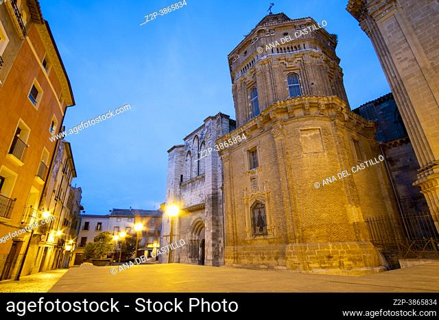 Tudela town in Navarre Spain The cathedral by sunset