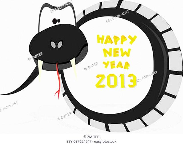 Vector New Year's Eve greeting card with black snake