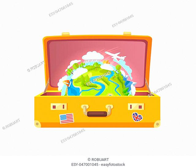 Suitcase with stickers of USA and UK flags, and globe with plane and sailboat, trees and clouds with raindrops, isolated on vector illustration