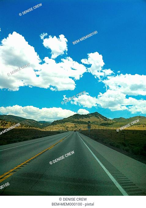 Highway through remote landscape, Los Angeles, California, United States