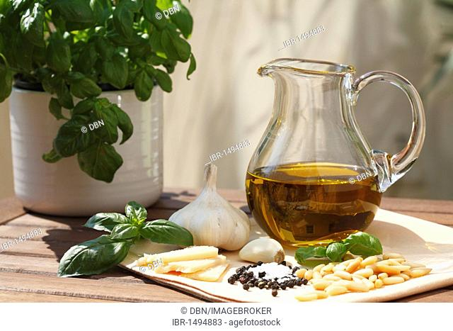 The ingredients for basil pesto on a wooden table, Italian sauce