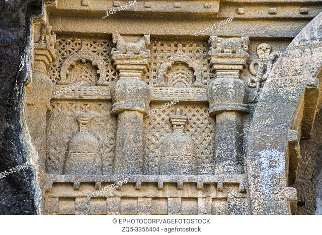 Cave 18, Chaitya hall, details of the proper right of chaitya arch showing miniature stupas, pilasters, Nasik, Maharashtra
