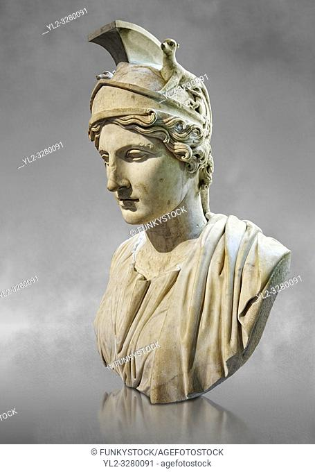 Bust of Rome - a 1st or 2nd century Ad Roman sculpture made in marble, from Italy. The Borghese Collection Inv No. MR 643 or Ma 1209, Louvre Museum, Paris
