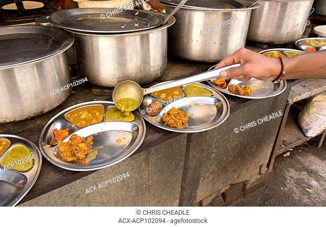 Food at Muni Ki Reti, sometimes known as Lakshman Jhula, Rishikesh area, Tehri Garhwal district, Uttarakhand, India