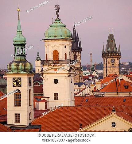 Klementinum, Clementinum, Astronomical Tower , on background Old Town City Hall and Tyn church, Prague, Czech Republic