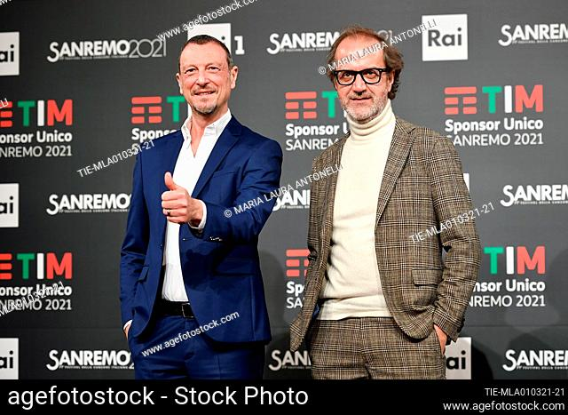 Sanremo Festival host and artistic director, Amadeus, and Stefano Coletta director of Rai 1 pose for photographers during the photocall of 71st Sanremo Music...
