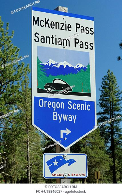 Bend, OR, Oregon, Deschutes National Forest, McKenzie Pass, Santiam Pass, Oregon Scenic Byway, road sign