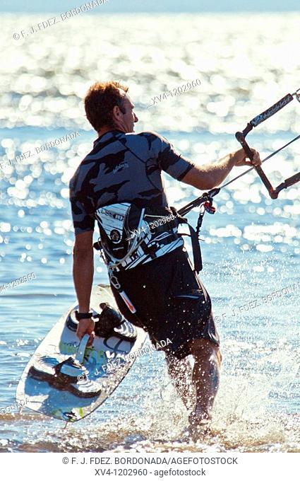 Kiteboarding in Ebro Delta  Nature Park  Tarragona  Spain