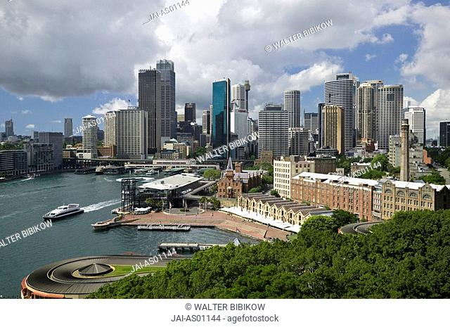 Australia, New South Wales, Sydney, Sydney Cove and Skyline from Sydney Harbour Bridge