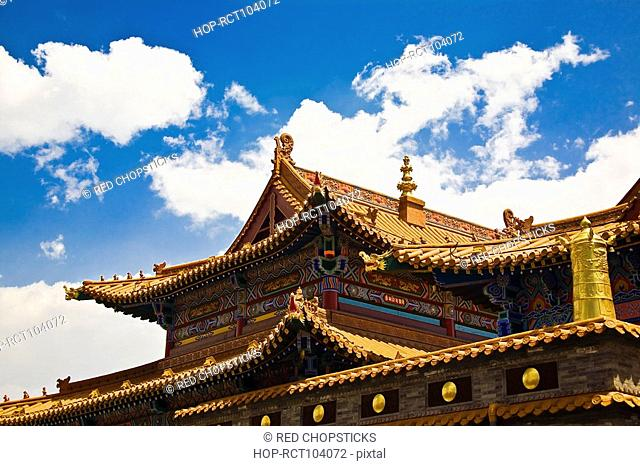 Low angle view of a temple, Da Zhao Temple, Hohhot, Inner Mongolia, China
