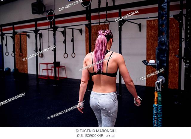 Young woman with purple ponytail training in gym, rear view