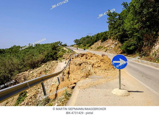 Road damage on highway SH8, Lukova, Qark Vlora, Albania