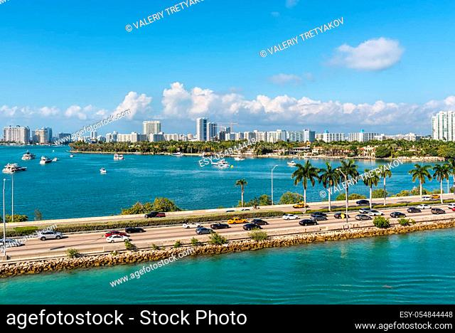 Miami, FL, United States - April 28, 2019: Causeway from downtown to Miami beach, Biscayne Bay and Star Island in Miami, Florida, United States of America