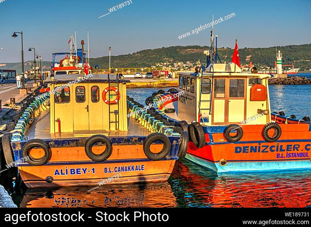 """Canakkale, Turkey â. """" 07. 23. 2019. Boats in the harbor of Canakkale, Turkey, on a sunny summer morning"""