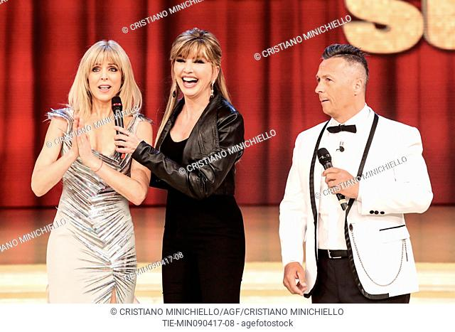 Marla Maples with Milly Carlucci and Paolo Belli guest at the tv show Ballando con le stelle, Rome, ITALY, 08-04-2017