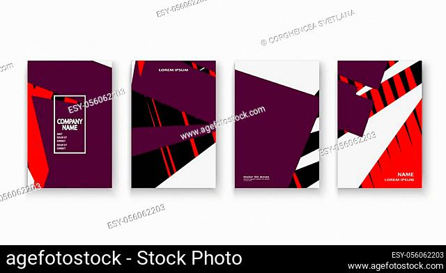 Modern cover collection design vector. Abstract retro style purple red black lines texture. Striped trend background. Futuristic geometric stripe pattern