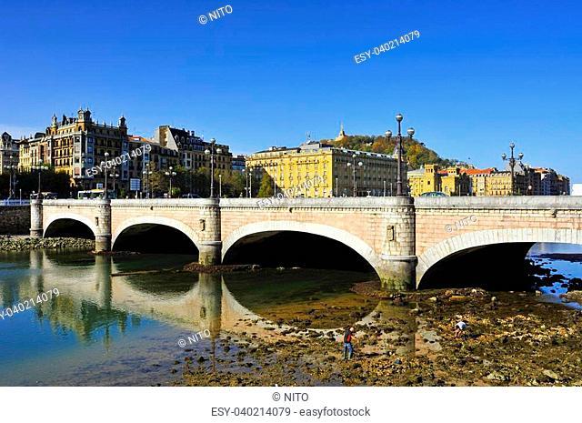 view of Kursaal Bridge above Urumea River in San Sebastian, Spain