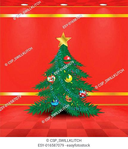 Red room with Christmas tree