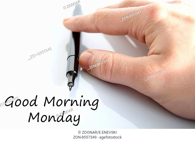 Good morning monday text concept isolated over white background