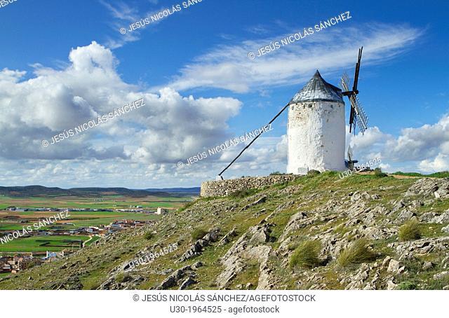 Typical windmill in Consuegra village, in the Route of Don Qiuijote, Toledo province, Castilla-La Mancha, Spain