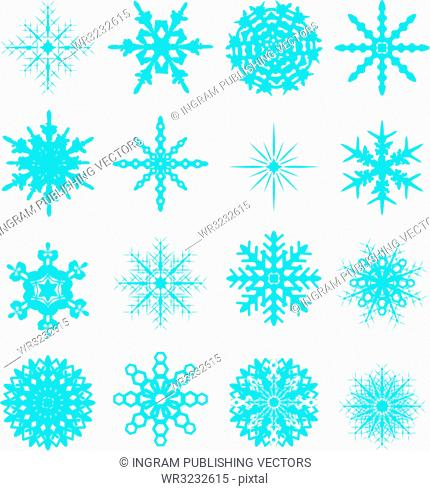 sixteen snowflake in blue with different variations ideal to be placed on your own artwork