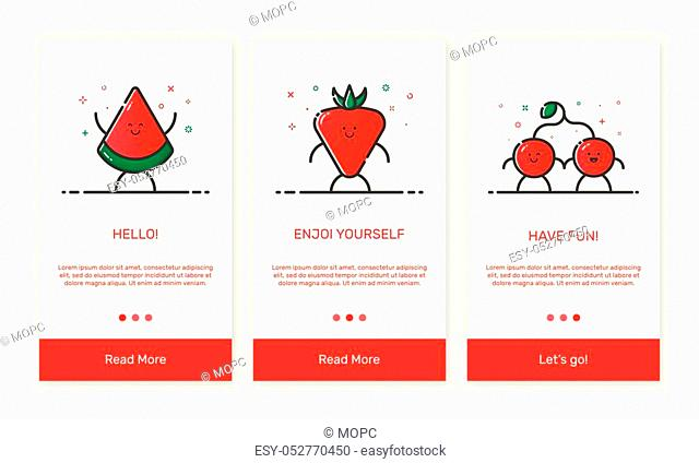 Vector Illustration of onboarding app screens and outline web fruit icons for mobile apps. Modern red interface UX, UI GUI screen template for mobile smart...