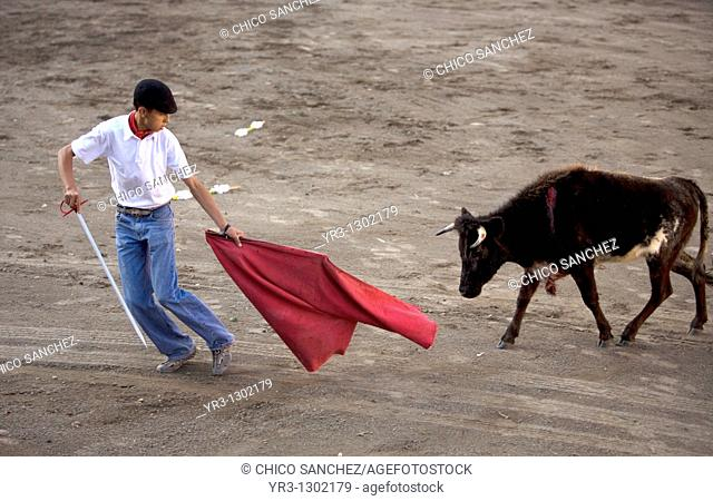 A young bullfighter runs from a cow during a bullfight in Tlaxcala, Mexico, November 13, 2008