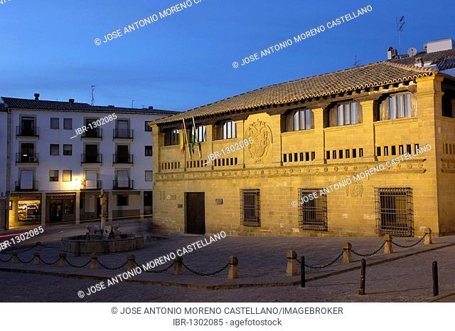 Antigua Carnicería, old butcher's shop, at Populo square at dusk, Baeza, Jaen province, Andalusia, Spain, Europe